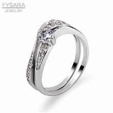 FYSARA Fashion Couple Two For One Rings Silver Color Wave Rings Setting CZ Full Crystal Wedding Rings For Female Jewelry Gift