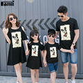 Famli 1 pc vestidos filha da mãe de família roupas combinando o filho pai mãe me crianças caráter algodão curta t-shirt roupas casuais