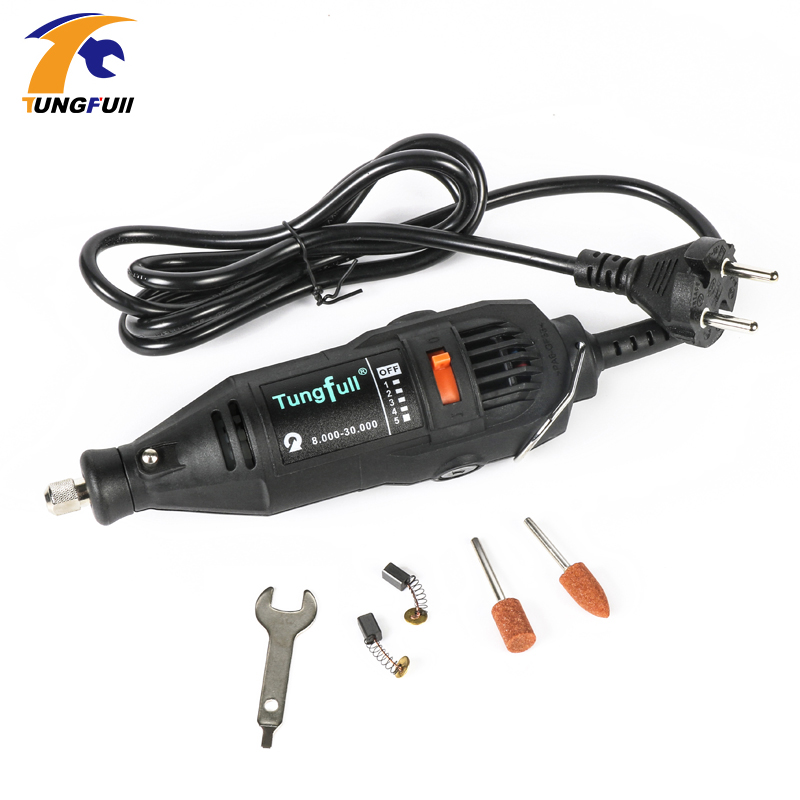 TUNGFULL 220V Electric Mini Drill For Dremel Rotary Variable Speed Mini Drill With Flexible Shaft And 5pcs Dremel Accessories tasp 220v 130w electric dremel rotary tool variable speed mini drill with flexible shaft and 175pc accessories storage bag
