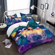 Купить с кэшбэком 3Pcs Colorful Constellation Bedding Set Cartoon Capricorn Print Duvet Cover Set Kids Dreamlike Bedding Pillowcase Home Decor