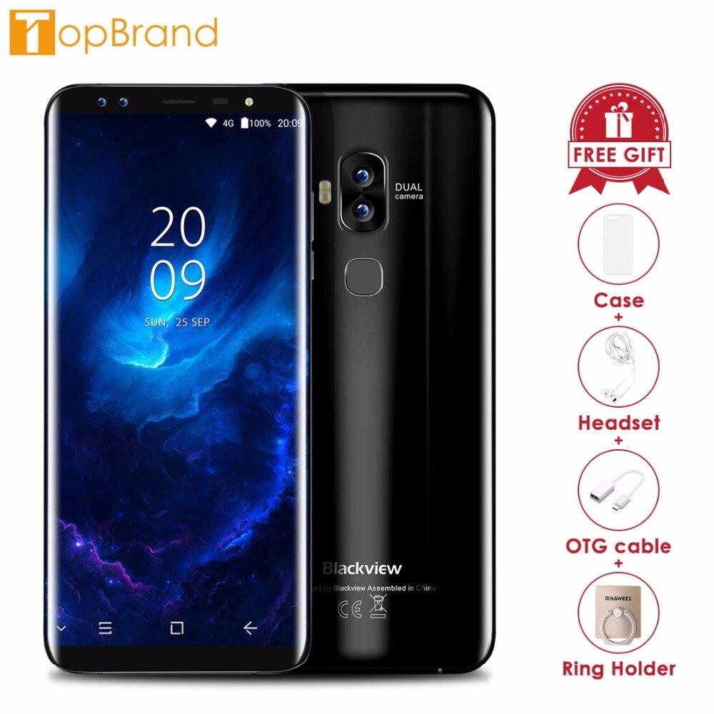 Blackview S8 Quattro Telecamere 18:9 Smartphone 4g di RAM 64g ROM 5.7 pollice MT6750T Octa Core 1440*720 4g LTE di Impronte Digitali OTG Del Telefono Mobile
