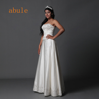 abule Satin wedding dress appliques beading lace up pearls crystal strapless wedding gowns Vestido De Noiva 2018 plus size