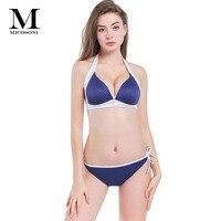 Micosoni Swimwear High Quality 2018 New Ladies Bathing Suit Contrast Zipper Stitching Neck Split Swimsuit Bra Sets M L XL XXL