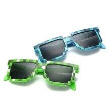 MOUGOL Sunglasses Women Men Plaid Frame Pixel Mosaic Party Glasses Vintage 8 bit Sun UV400