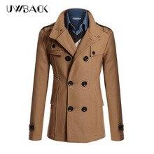 2017 Новые Поступления Куртка Мужчины Двойной Брестед Шерсть Пальто Мужчины Плюс размер 3XL Шерсти Мужской Пальто Случайного Шерсть & Смеси мужская Куртка CAA354