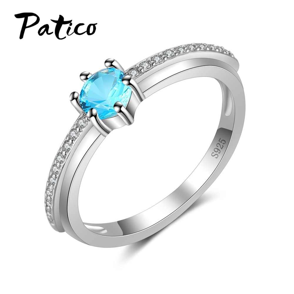 100% Authentic 925 Sterling Silver Women Rings White/Blue/Red/Purple/Green 5  Colors CZ Zircon Stone For Choice