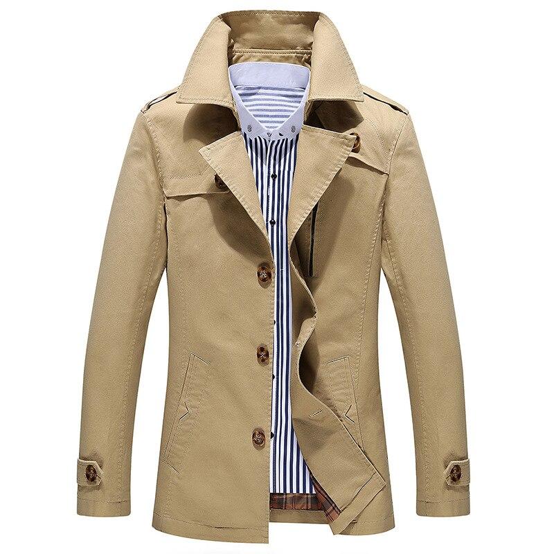 manteau homme 2017 Fashion trench coat men jacket men cheap mens trench coats cotton Hot Selling turn-down collar plus size 5XL