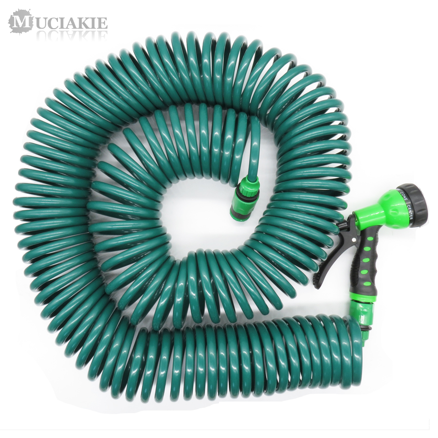 MUCIAKIE 30M 100FT Coiled Hose with Garden Water Gun 1 2 3 4 Faucet Connecter Self