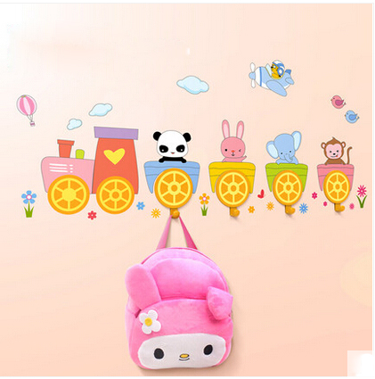 New Arrival Cute Animal Cartoon 3D Sticker Children Bedroom Home Decoration Funny Train DIY Wall Hook Removable Sticker