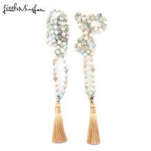 купить Fashion Bohemian Tribal Beige Tassel Buddha Yoga Jewelry Amazonite Stone beads Necklace For Women Lariat Necklaces long necklace дешево