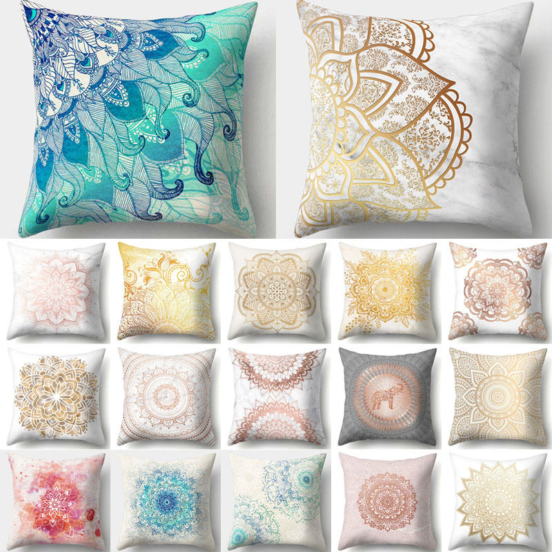 1Pcs Mandala Pattern Polyester Throw Pillow Living Room Cushion Cover Car Home Decoration Sofa Bed Decorative Pillowcase 40508