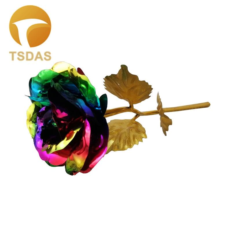 1 adet 24 k Altın Folyo Gül Ile 7 Renkler Yapay Altın Çiçek - Tatiller ve Partiler Için - Fotoğraf 1