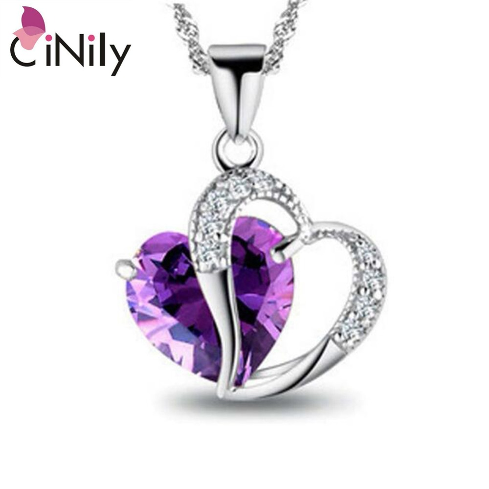 100% Solid 925 Sterling Silver Created Amethyst Zirconia Hot Heart for Women Fine Jewelry Pendant Without the Chain SP025