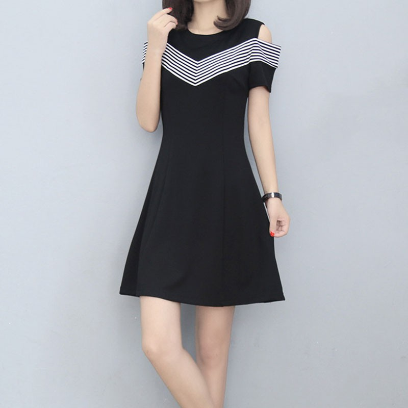 Ladies Casual Mini Dresses New Summer Style Black White Stripes Crew Neck Short Sleeve A Line Slim Dress M L XL XXL XXXL T6 ...