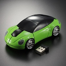 Brand New High Quality Green Laptop Computer Car Shaped Mouse 1600DPI Optical Mice 3D 2.4G USB Wireless
