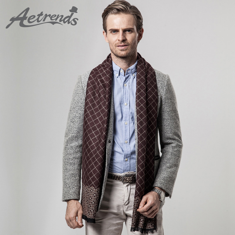 AETRENDS 2017 Winter Men's Business Plaid Cashmere Scarves