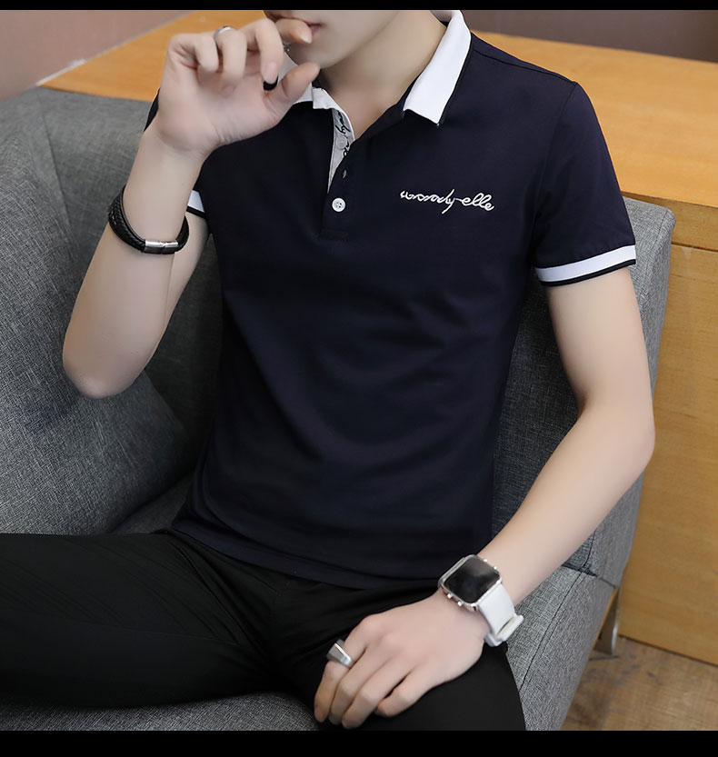 Short-sleeved T-shirt men's fashion casual cotton clothes decorated with multi-color optional 91