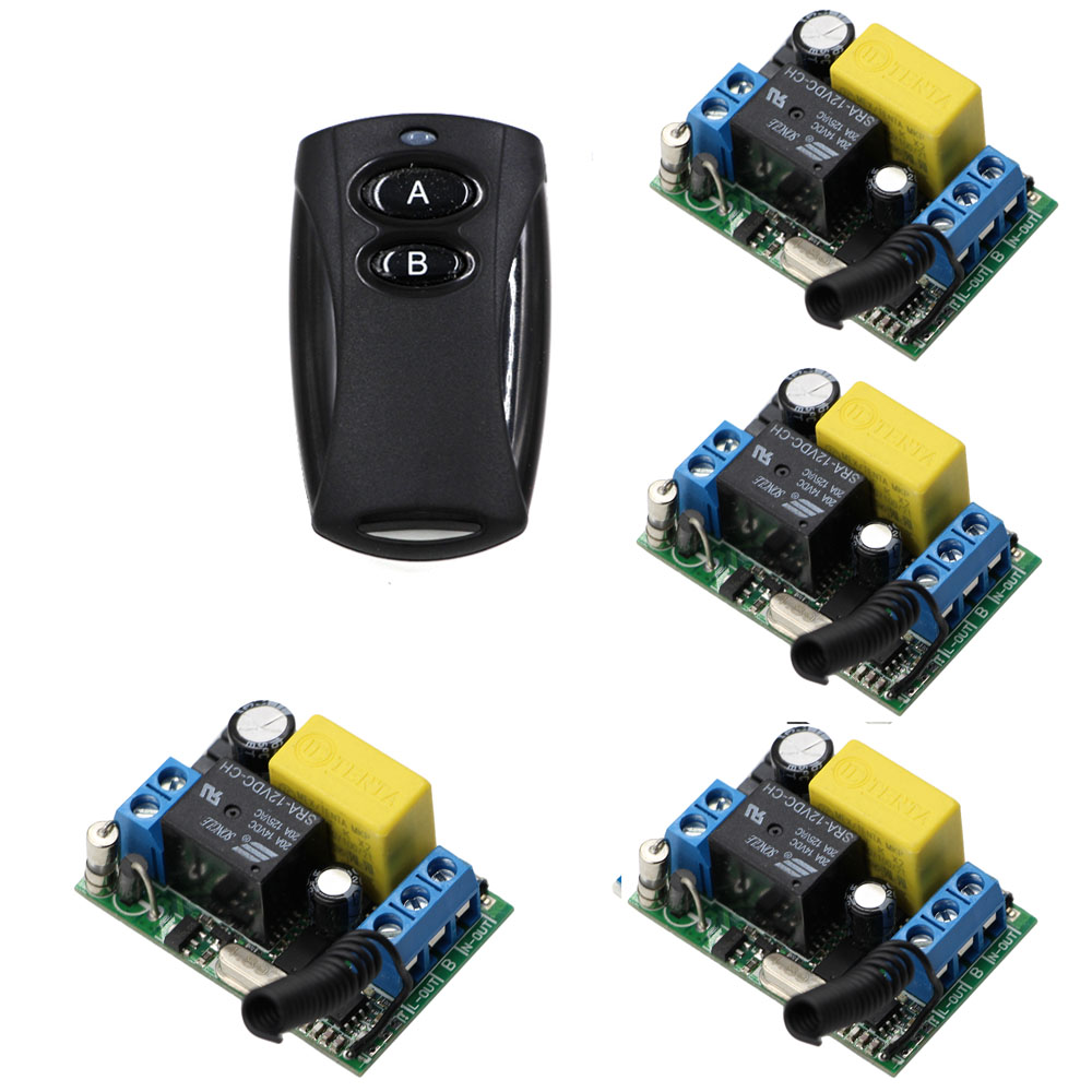 Electronic Gates AC220V 10A 1 Channel Wireless Remote Control Switch 4pcs Receiver Board & Transmitter 2Keys 315Mhz new ac220v 1 ch wireless remote control lighting switch 10a relay mini receiver and 2keys remote controller for lights
