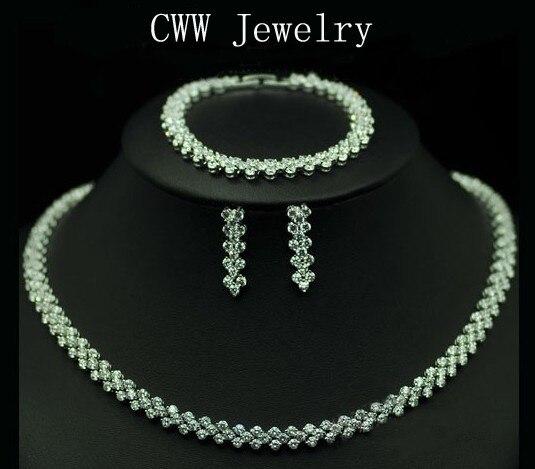 CWWZircons haute qualité AAA + zircon cubique collier Bracelet boucles d'oreilles ensemble de bijoux pour dames Costume bijoux T028