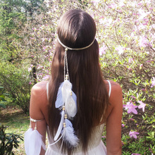 Bohemian white peacock feather ostrich feather headdress недорого