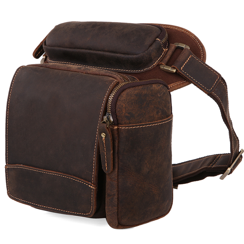 TIDING Motorcycle bicycle waist bag for men Drop Leg Bag cowhide leather vintage style 3113R waist bag