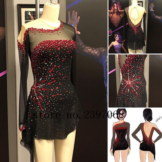 Figure Skating Dress Black Women Competition Figure Skating Dress Custom Girls Ice Figure Clothes Crystals Free Shipping B4