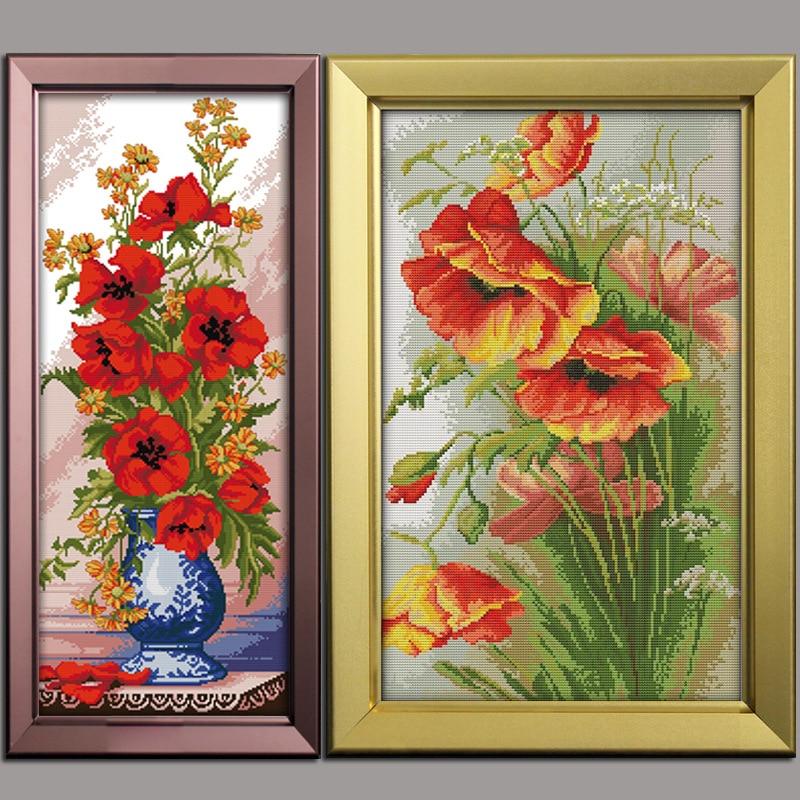 Krásné Poppy flower11CT vzor na plátně DMC 14CT Cross Stitch - Umění, řemesla a šití