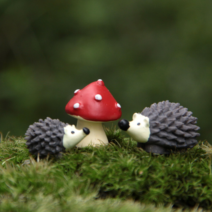 Artificial Mini Hedgehog With Red Dot Mushroom Miniatures Fairy Garden Gnomes Moss Terrarium Resin Crafts Decorations For Home In Figurines