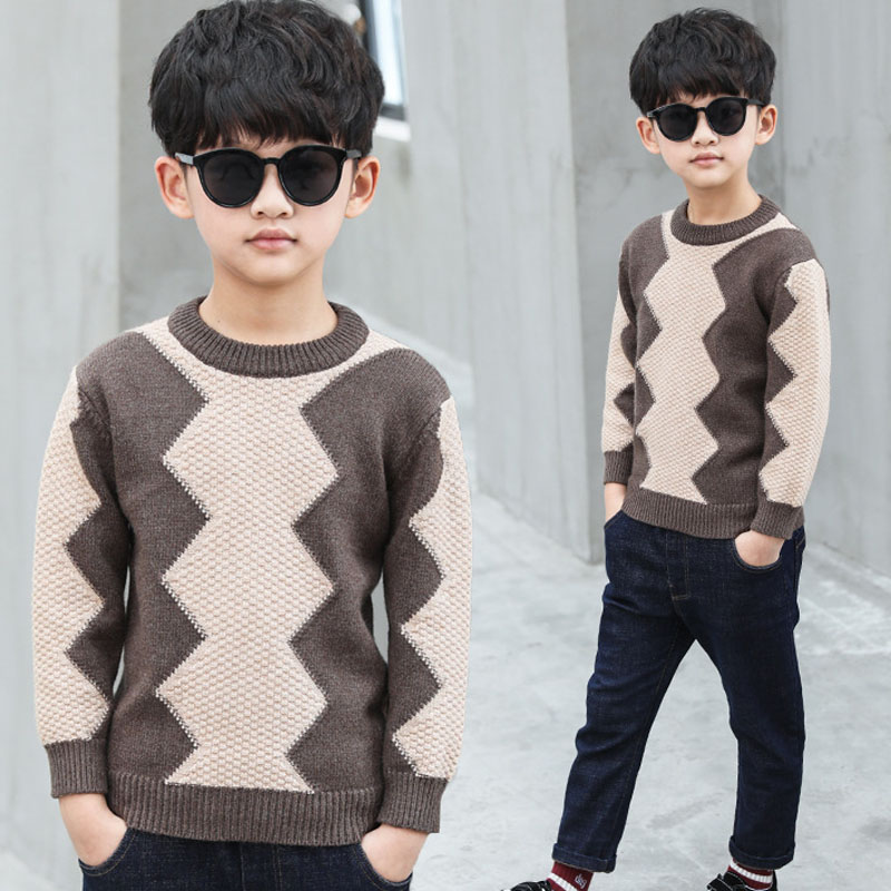 все цены на 2018 winter children's knit tops clothes boys plaid sweaters long sleeve thick knitted pullover baby sweaters for boys clothing