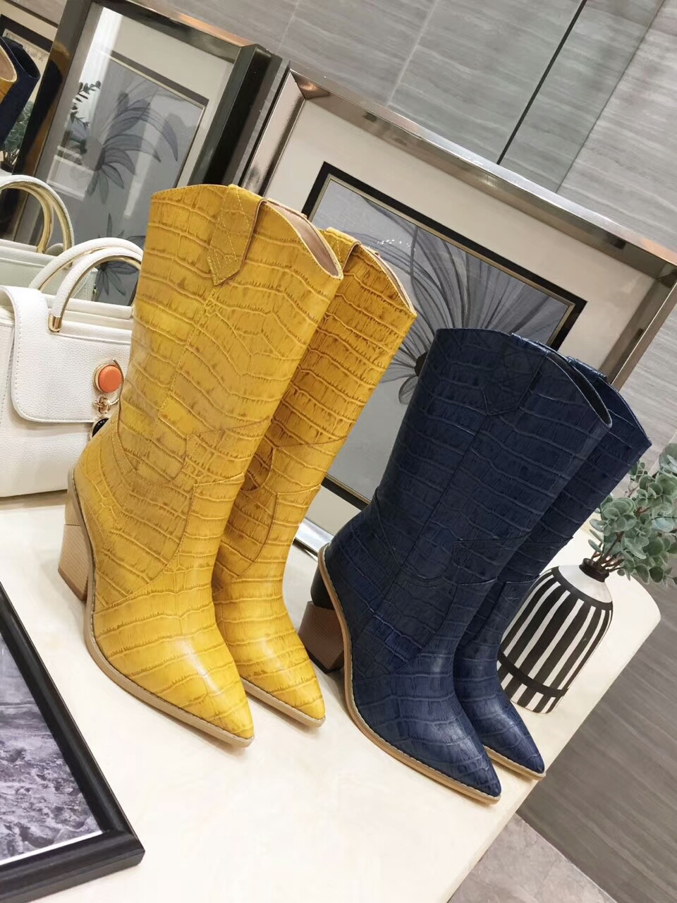 INS HOT SALE chunky high heel pointed mid high women boots real photo custom make colors chunky heel woman leather boot size 42 INS HOT SALE chunky high heel pointed mid high women boots real photo custom make colors chunky heel woman leather boot size 42