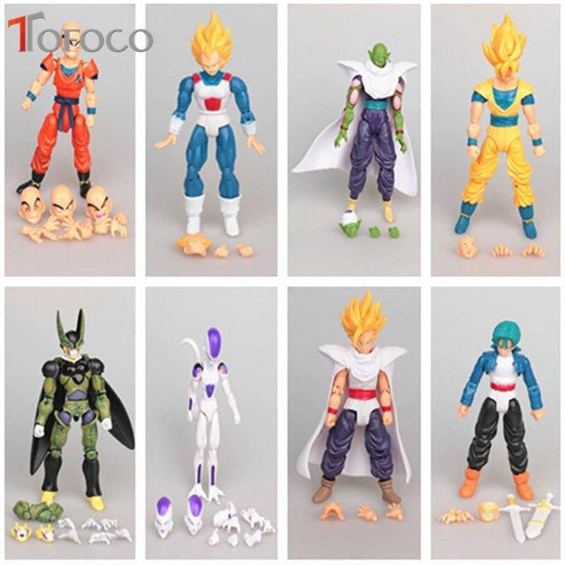 TOFOCO 8pcs/set Movalbe Dragon Ball Z Action Figure Goku Vegeta Krillin Cell Piccolo Action Doll Super Saiyan Model Toy Gift