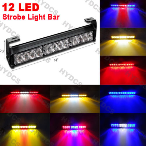 CYAN SOIL BAY 14 12 LED Emergency Warning Traffic Advisor 12W Strobe Light Bar Lamp Red  ...