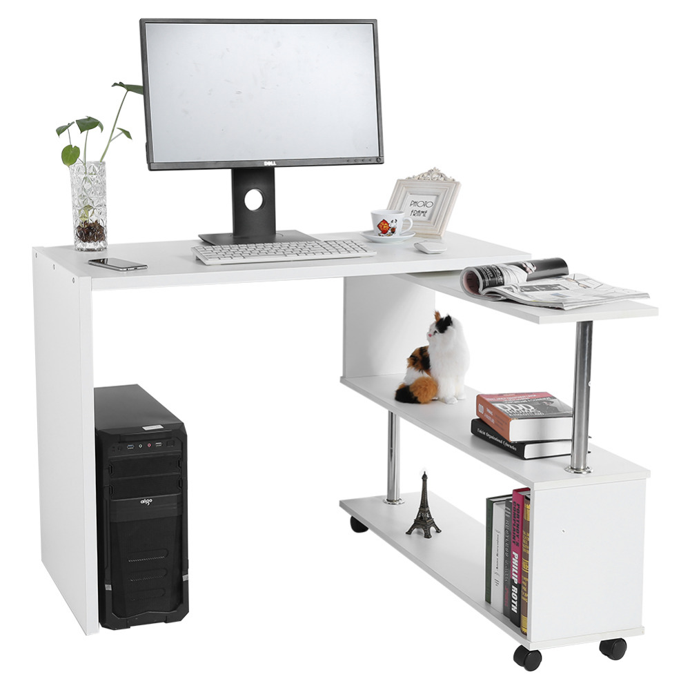 Image 5 - 360 Degree Rotatable L Shaped Corner Computer Office Desk With Book Shelves Home Desk Commercial Furniture-in Laptop Desks from Furniture