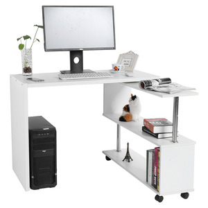 Image 5 - 360 Degree Rotatable L Shaped Corner Computer Office Desk With Book Shelves Home Desk Commercial Furniture
