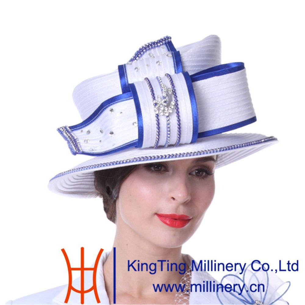 dd61c95f0ea Kueeni Women Hats Diamond Casings Elegant Lady Church Hats White Color High  Noble Fashion Lady Wedding Party Office Church Hats-in Fedoras from Apparel  ...