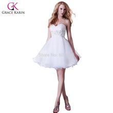 High Quality Grace Karin Sexy Beaded High Low Hem Short White Prom Dresses  Organza Free Shipping CL3820 fb05f405185b