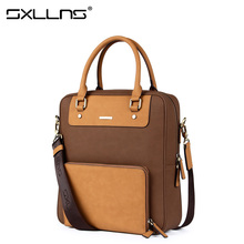 Sxllns Brand Handbag Men Shoulder Bags Leather Briefcases Vintage Tote Bag Men's Messenger Bag Casual Travel Crossbody Bag
