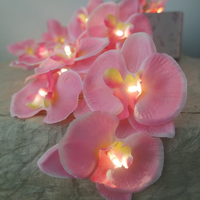 Novelty orchid Flower Fairy String Lights 3M 20 LEDs, Holiday Lighting floral power by battery,Wedding Decoration,Mirror light