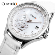 Comtex Women cute Watch for girl Pearl White Dial Leather Butterfly Fashion ladies watch quartz flower crystal bracelet watch