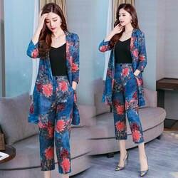 Модные осень-зима комплект из 2 частей Для женщин печатных блейзер пальто + брюки костюм в английском стиле Стиль три четверти рукава