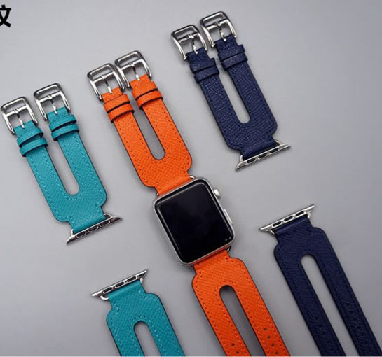 For Apple iWatch Band Buckle Double Tour Genuine Leather Watch Strap For Apple Watch Series 1 2 3 Wrist Strap herm 38mm-42mm цена и фото