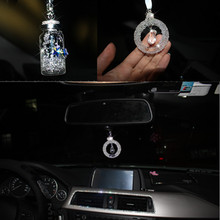 cool  rearview mirror car ornament hanging Crystal wish bottle accessories interior bling decoration for girl women