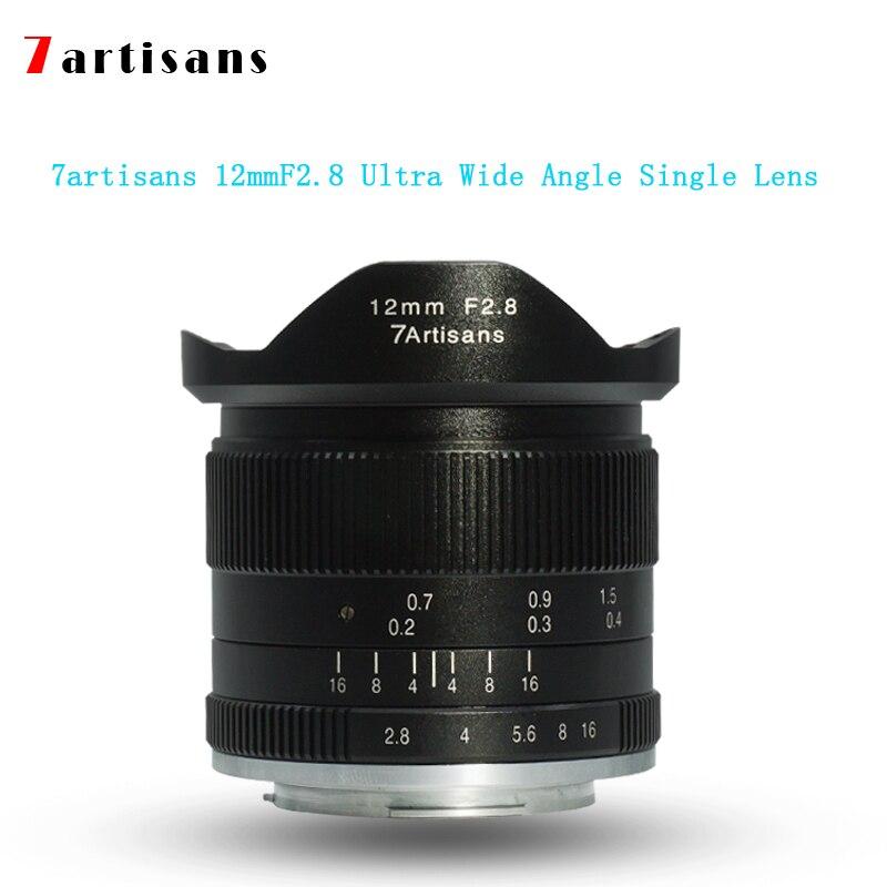 7 artisans 12mmf2. 8 objectif unique ultra grand angle pour monture E, monture Canon EOS-M, monture FX pour appareils photo Canon M1 M2 M3 M5 M6