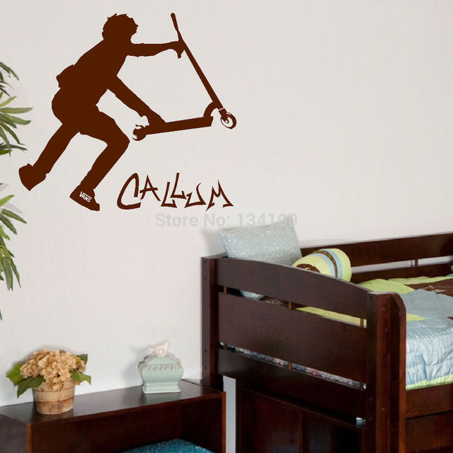 Customer made personalised stunt scooter wall transfer art sticker poster decal you choose name