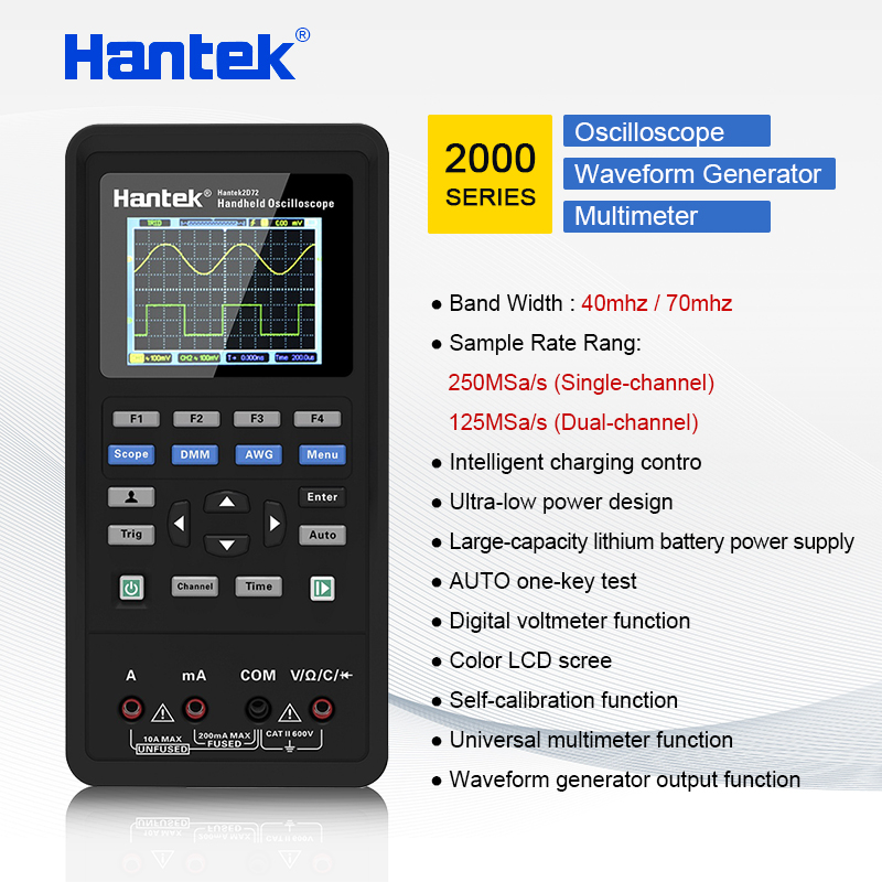 Hantek Oscilloscope + Waveform Generator + Multimeter automotive USB 2 Channels 40mhz 70mhz 250MSa/S  color LCD display toolsHantek Oscilloscope + Waveform Generator + Multimeter automotive USB 2 Channels 40mhz 70mhz 250MSa/S  color LCD display tools