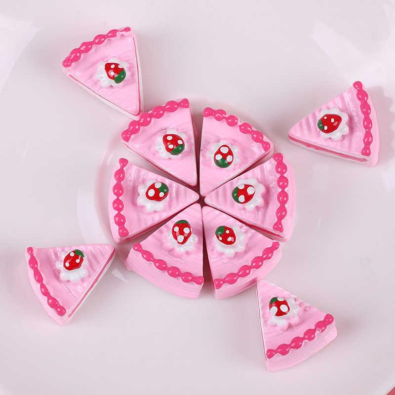 10 pçs kawaii plana volta diy em miniatura artificial falso bolo de comida em miniatura resina cabochão decorativo artesanato jogar boneca casa brinquedo