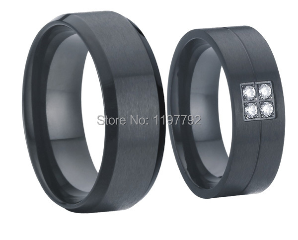 2 pieces European style black pure titanium steel wedding bands engagement rings sets for men and women