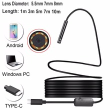 USB-C / Type-C Endoscope Waterproof IP67 Snake Tube Inspection Camera with 8 LED & USB Adapter, Length: 1m-10m Borescope Camera