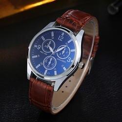 Для мужчин модные Бизнес Стиль Искусственная кожа группа Круглый Циферблат Аналоговые кварцевые наручные часы