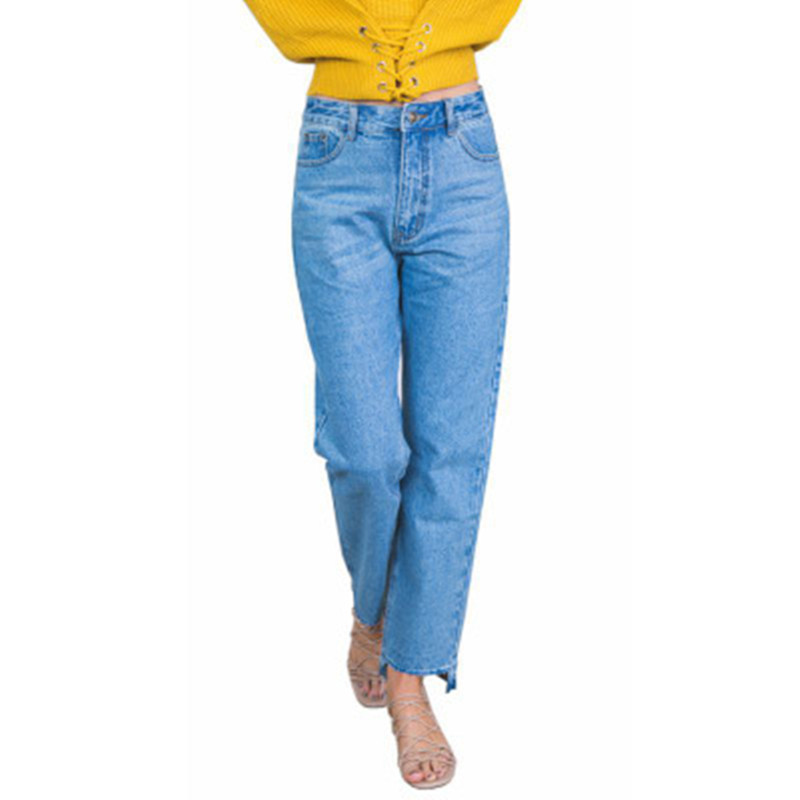 Classic Women Straight Jeans Pants Plus Size XXL Causal 4 Season Female Outwear Loose Trouser Mid Waist Lady Full Pants